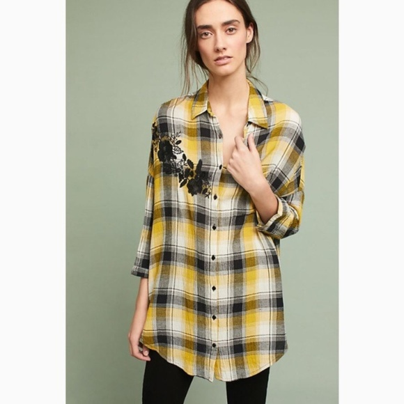 Anthropologie Tops - Anthropologie Embroidered Plaid Buttondown